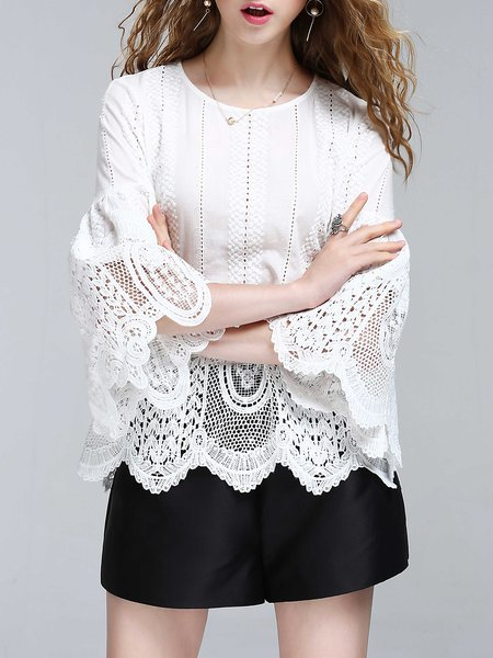 White Cotton Crew Neck Bell Sleeve Crocheted Blouse