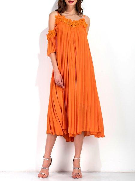 Orange Sexy Cold Shoulder Spaghetti Strap Pleated Chiffon Maxi Dress