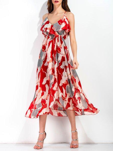 Red Spaghetti Strap V Neck Bird Print Holiday Split Maxi Dress
