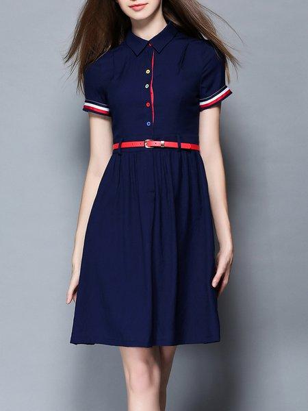 Dark Blue Short Sleeve Gathered A-line Shirt Dress