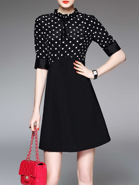 Black Elegant Stand Collar Polka Dots Silk-blend Midi Dress