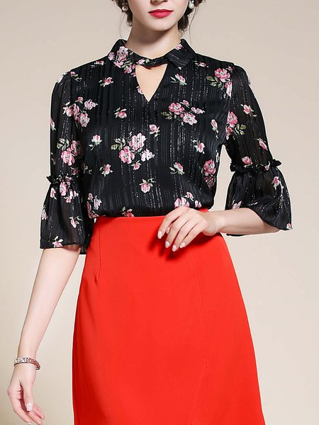 Black Bell Sleeve Floral Print Keyhole H-line Tops
