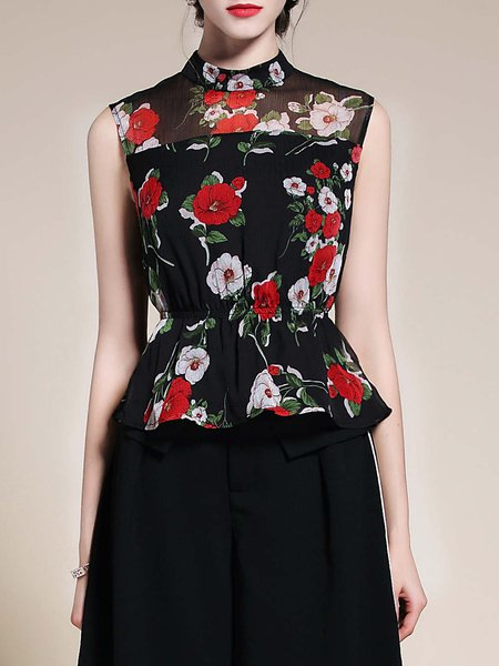 Stand Collar Sleeveless Floral Print A-line Casual Tanks