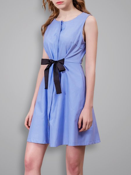 Bow Casual Sleeveless A-line Solid Mini Dress
