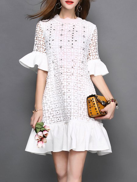 White Crew Neck Bell Sleeve Lace Pierced Flounce Mini Dress
