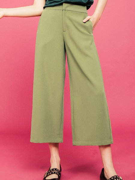 Green Casual Solid Pockets Wide Leg Pants