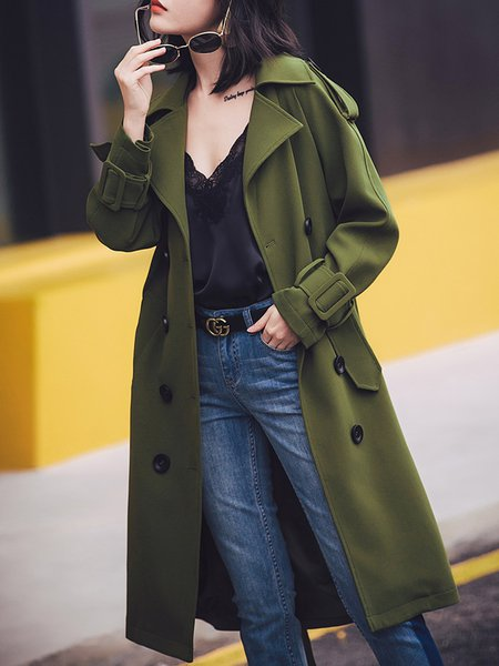 Buttoned Long Sleeve Lapel Solid Trench Coat
