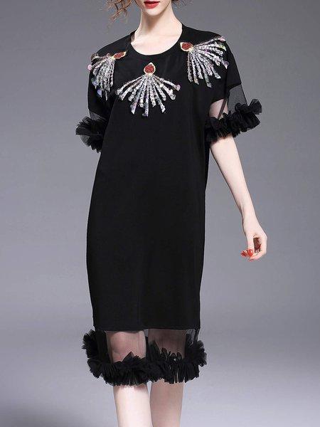 Black Crew Neck Frill Sleeve Beaded Flounce Midi Dress