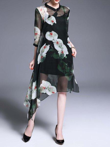 Stand Collar Vintage Style Silk 3/4 Sleeve Midi Dress