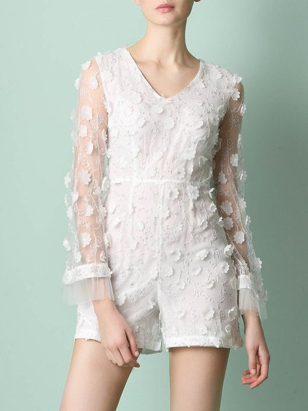 White Frill Sleeve Floral Appliqued V Neck Embroidered Romper