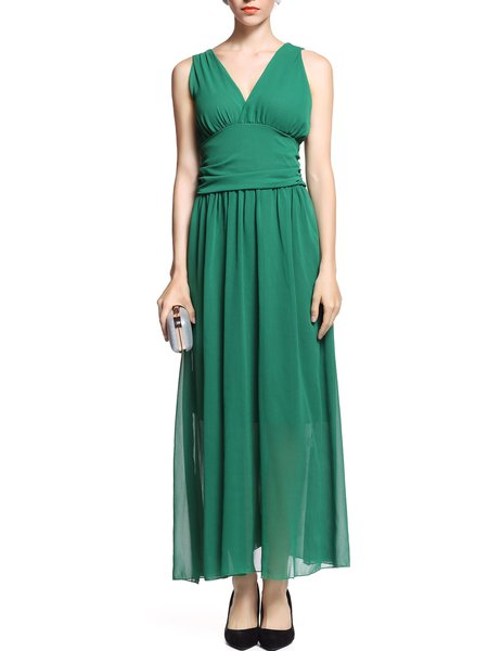 Green Folds Empire Waist Plunging Neck Sleeveless Maxi Dress