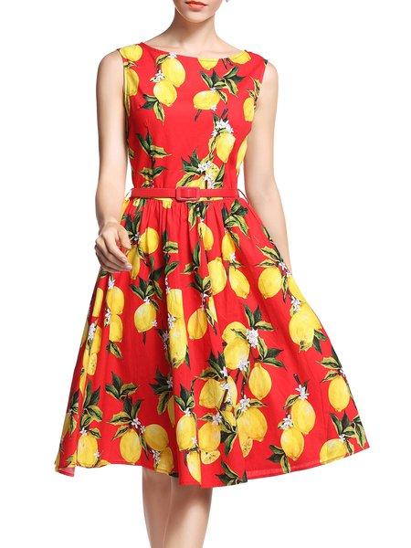 Sleeveless Vintage Printed Crew Neck Cotton-blend Midi Dress