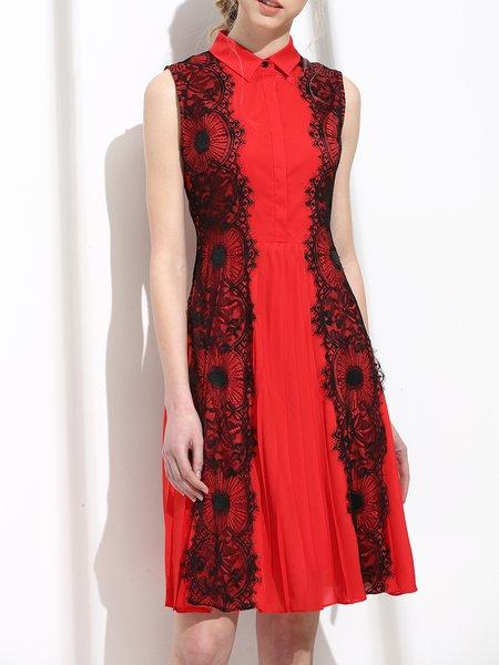 Color-block Shirt Collar Floral Casual Sleeveless Midi Dress