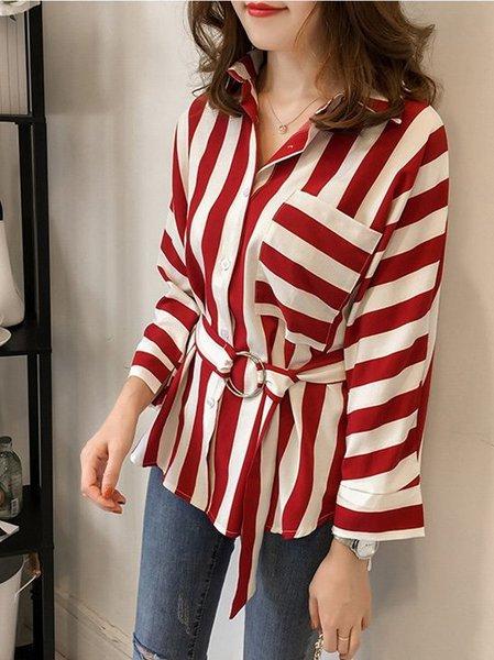 Shirt Collar Casual Striped Blouse