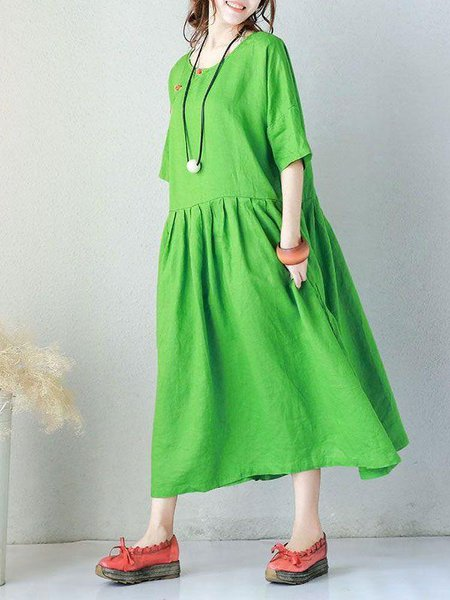 Green Half Sleeve Crew Neck Buttoned Linen Dress