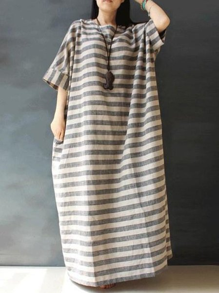 Linen Casual Half Sleeve Linen Dress
