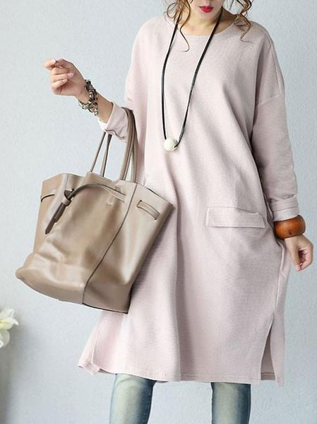 Long Sleeve A-line Pockets Casual Crew Neck Linen Outerwear