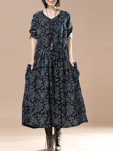 Navy Blue Linen Long Sleeve A-line Linen Dress