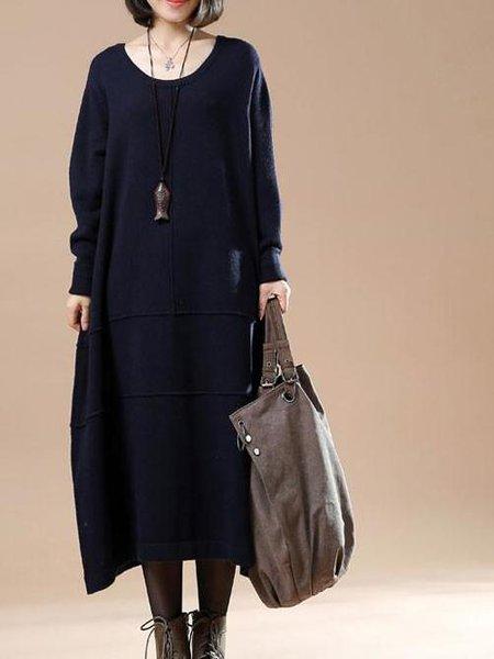 Blue Long Sleeve Solid Crew Neck Linen Dress
