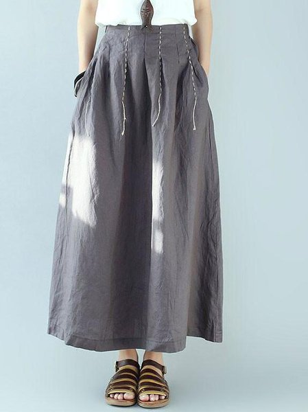 Gray Casual H-line Linen Bottom