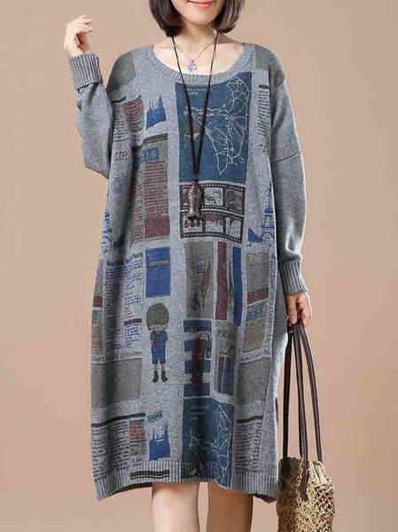 Casual Long Sleeve Abstract Printed Shift Linen Dress