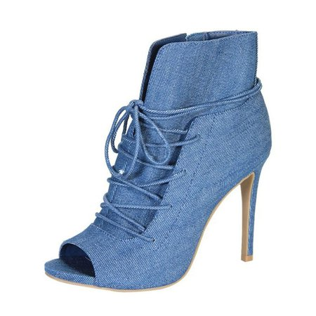 Blue Spring/Fall Lace-up Casual Stiletto Heel Boots