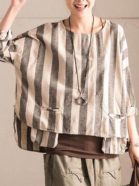Gray Stripes Casual Linen Linen Top