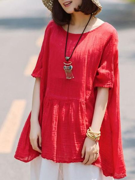 Red Gathered Linen Casual Crew Neck Linen Top