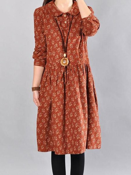 Orange Peter Pan Collar Cotton Casual Floral Linen Dress