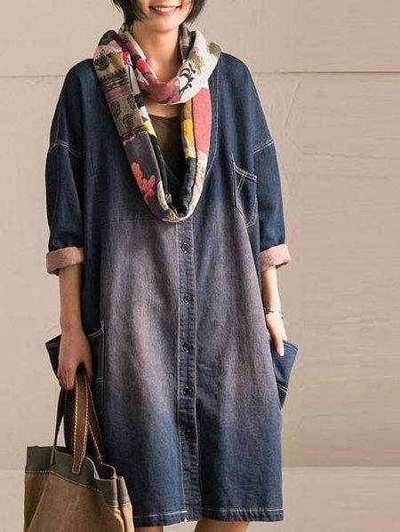 Blue Cotton Floral Long Sleeve Linen Dress