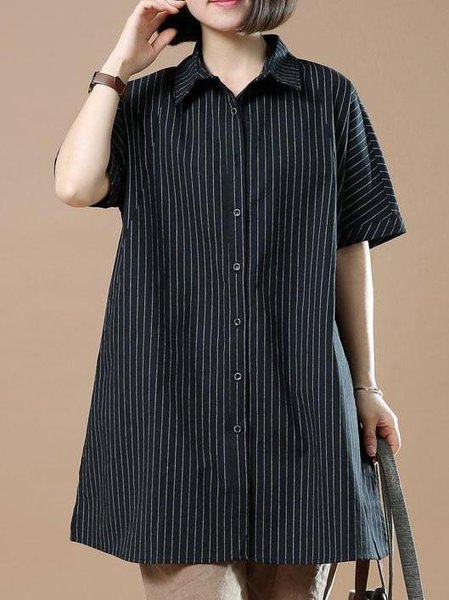 Stripes Polyester Casual Half Sleeve Linen Top
