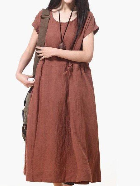 A-line Casual Short Sleeve Linen Dress
