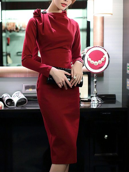 Stand Collar Midi Dress Sheath Party Long Sleeve Folds Dress