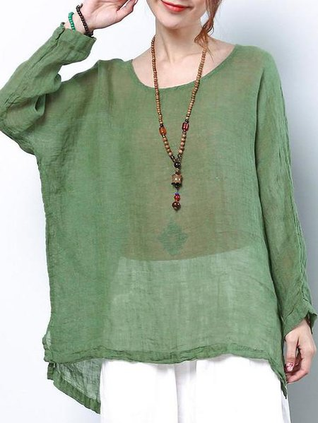 Green Asymmetric Casual Linen Linen Top