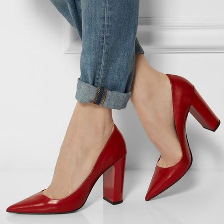 Red Pointed Toe Elegant Chunky Heels