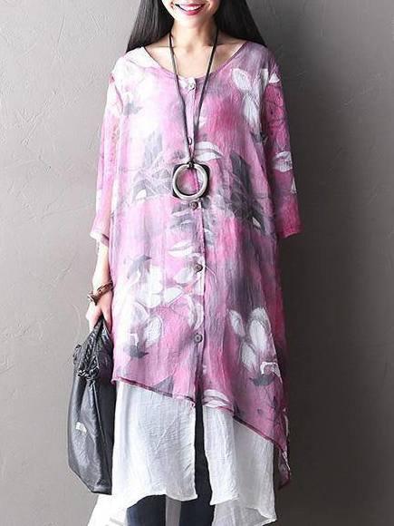 Purple Floral Asymmetrical 3/4 Sleeve Linen Dress