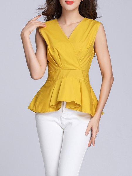 Sleeveless Casual V Neck Ruffled Peplum Top
