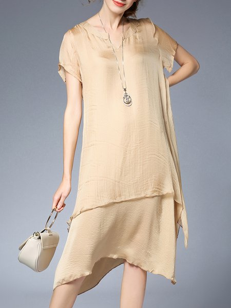 Plus Size Solid Asymmetric Casual Chiffon Midi Dress