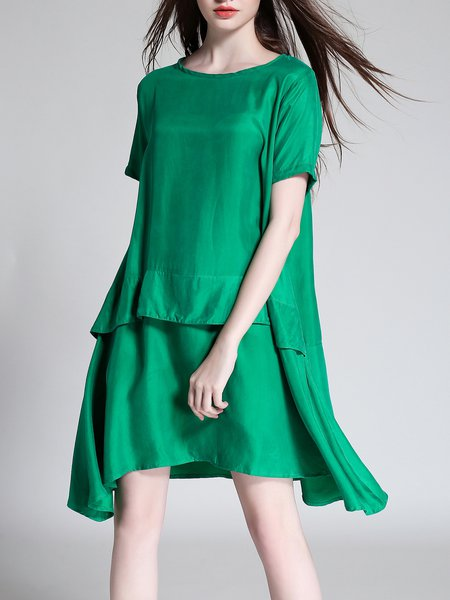 Solid Paneled Asymmetrical Casual Midi Dress