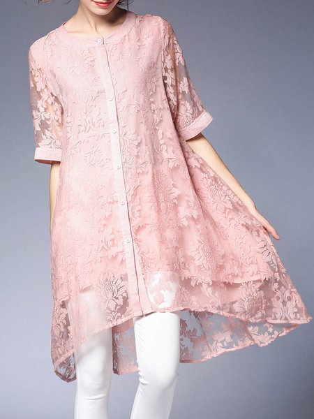 Pink Guipure Casual A-line Crew Neck Tunic
