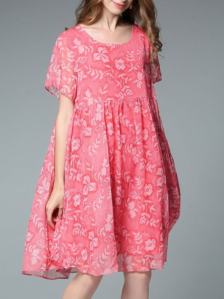 Red Crew Neck Floral Floral-print Casual Midi Dress