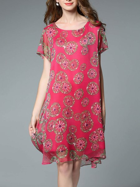 Fuchsia Short Sleeve Crew Neck Printed Chiffon Midi Dress