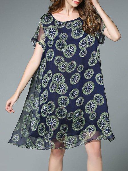 Dark Blue Casual Floral-print Chiffon Cocoon Midi Dress