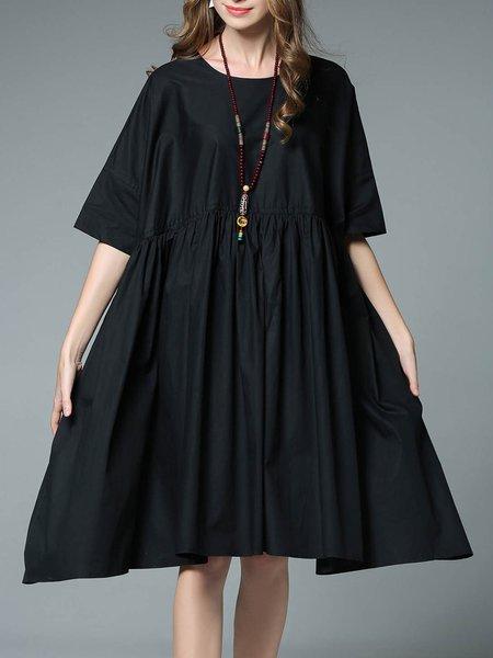 Folds Cotton Swing Half Sleeve Casual Midi Dress