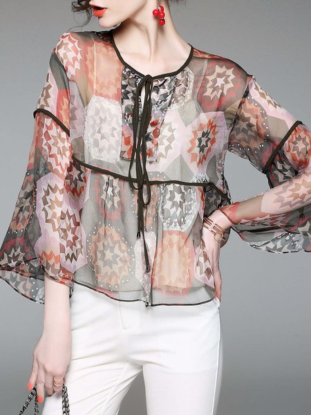 Silk Crew Neck Bell Sleeve Abstract Casual Tops