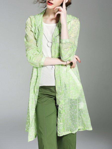 Printed Long Sleeve Hoodie H-line Coat