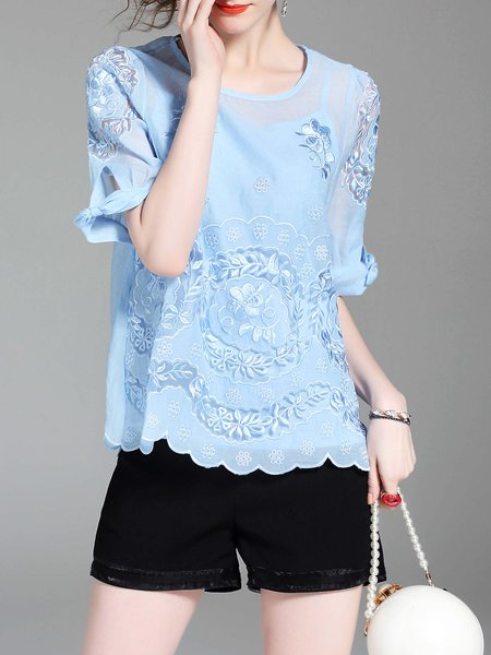 Bow Floral-embroidered Half Sleeve Girly Blouse With Camis