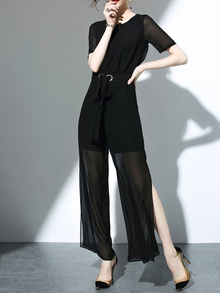 Black Casual See-through Look H-line Solid Jumpsuits
