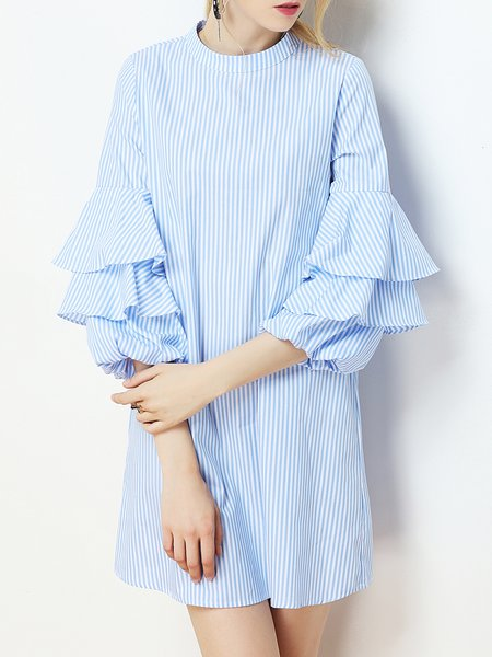 Light Blue Stripes Crew Neck Ruffled Sleeve Mini Dress