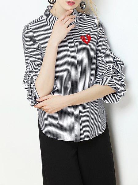 Black Rayon Ruffled Shirt Collar Casual Blouse